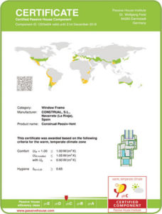 Certificate Passive House Componet